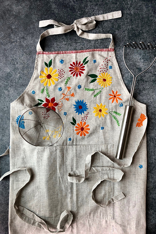 Okhai 'Hibiscus' Hand Embroidered Pure Cotton Women's Apron