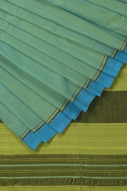3 Diamond Dobby Cotton Handloom Saree – Sea Green
