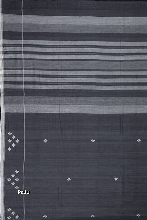 Hand-spun Pixel Flower Cotton Handloom Saree – Grey