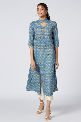 Okhai 'Mahi' Embroidered Cotton Hand Block Print Kurta