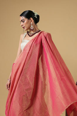 Handweave Maheshwari Handloom Full Tissue Saree Col- Dusty Pink, Blouse Colour -Rani