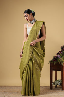 Handweave Maheshwari Handloom Full Tissue Saree Col- Light Green , Blouse Colour - Green