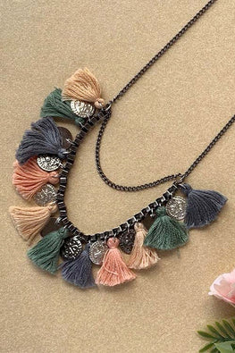 Dhaaga Handcrafts - Gray Pastel Tassel coin box necklace
