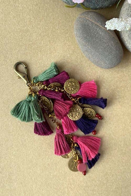 Dhaaga Handcrafts - blues & pinks tassel, coins & beads keychain