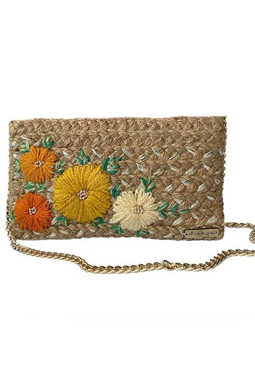 Dhaaga Handcrafts - Silver rectangle sling with Yellow  floral design