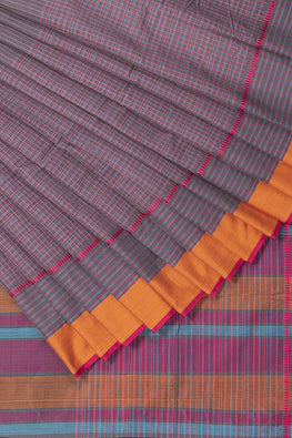 Stripe Checks Cotton Handloom Saree – Grey Dark
