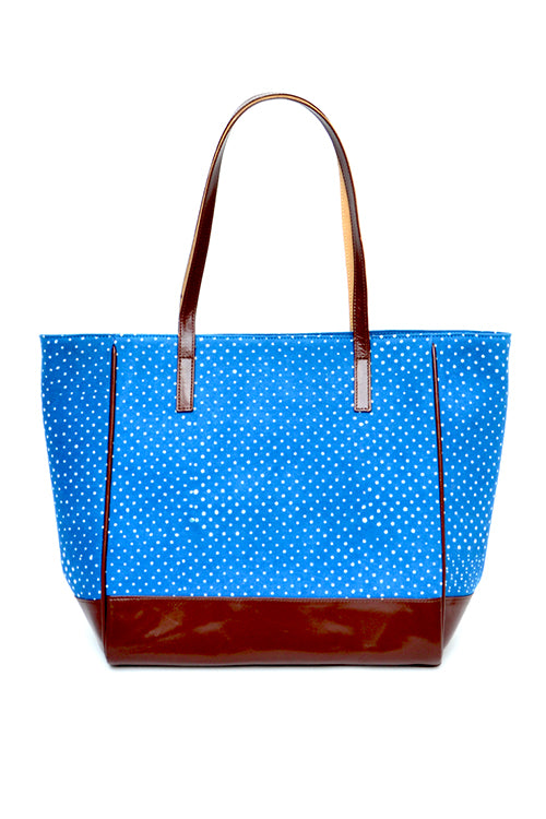 Dotted Dabu print and leather tote bag
