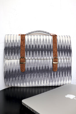 Kirgiti's Vegan Leather and Multi grey Ikat laptop 15""