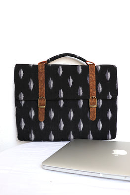Kirgiti's Vegan Leather and Black Ikat laptop 13""