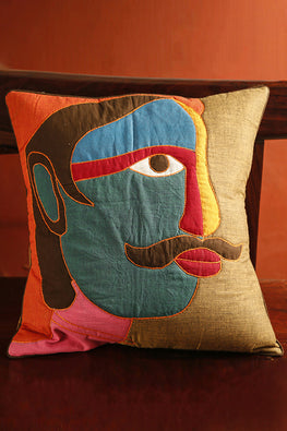 Bun.Kar Bihar 'Nar' Sujini & Applique Embroidery Cotton Cushion
