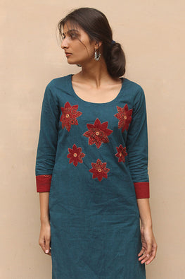 Okhai 'Phuljhari' Patch Work Cotton Kurta
