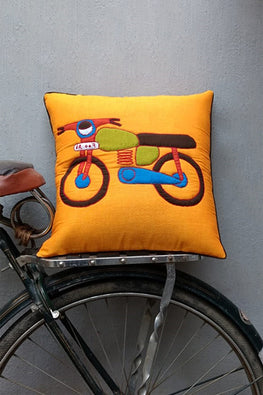 Bun.Kar Bihar 'Motorcycle' Sujini & Applique Embroidery Cotton Cushion