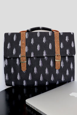 Kirgiti's Vegan Leather and Black Ikat laptop 15""