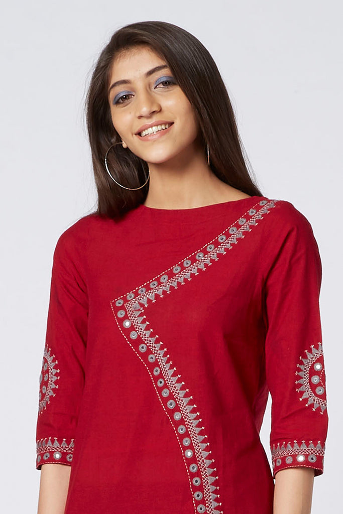 Okhai 'Red Ruby' Embroidered Cotton Kurta