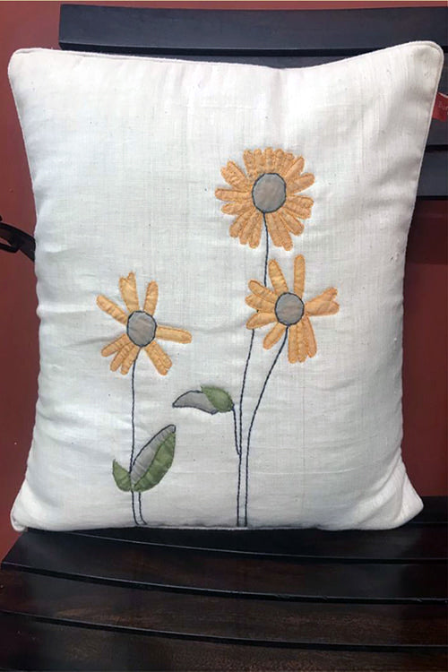 Bun.Kar Bihar '3 Flowers' Applique Embroidery Cotton Cushion