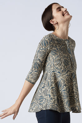 Okhai 'Pearl of Cotton' Hand Embroidered Kalamkari Top