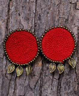 Okhai 'Trousseau' Red Handmade Earrings