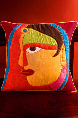 Bun.Kar Bihar 'Nari' Sujini & Applique Embroidery Cotton Cushion