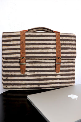 Kirgiti's Vegan Leather and Brown stripes Dabu print Canvas laptop 15""