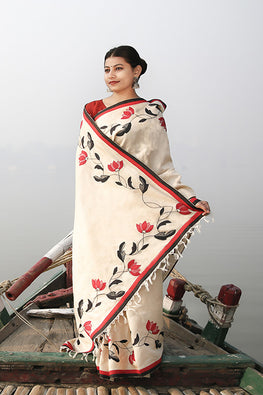 Bun.Kar Bihar 'Lahar' Applique & Sujini Embroidery Silk Saree