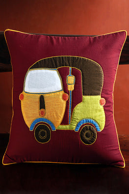 Bun.Kar Bihar 'Tempo' Sujini & Applique Embroidery Cotton Cushion