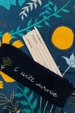 Okhai 'Stash' Hand Embroidered Pure Cotton Pouch with Pencils