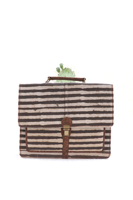 Brown-dabu-stripes-laptop-bag