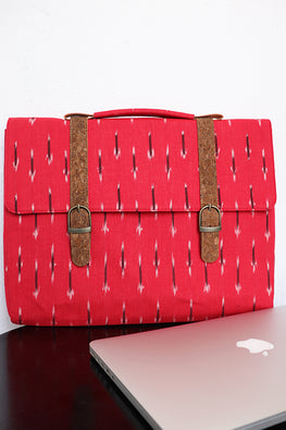 Kirgiti's Vegan Leather and Red ikat weave laptop 15""