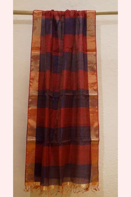 Red and Blue Silk Cotton and Zari Dupatta