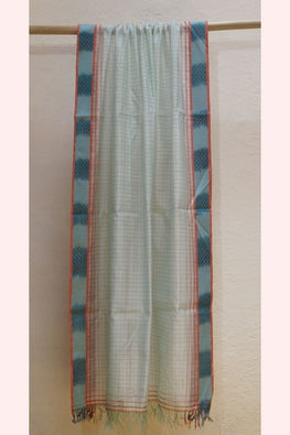 Pale Green Checkered Dupatta with Ikat Border