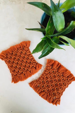 Macrame Square Coasters - Brown (set of 2)