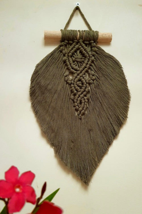 Leaf Olive Green Handcrafted Small Macrame Wall Hanging Online