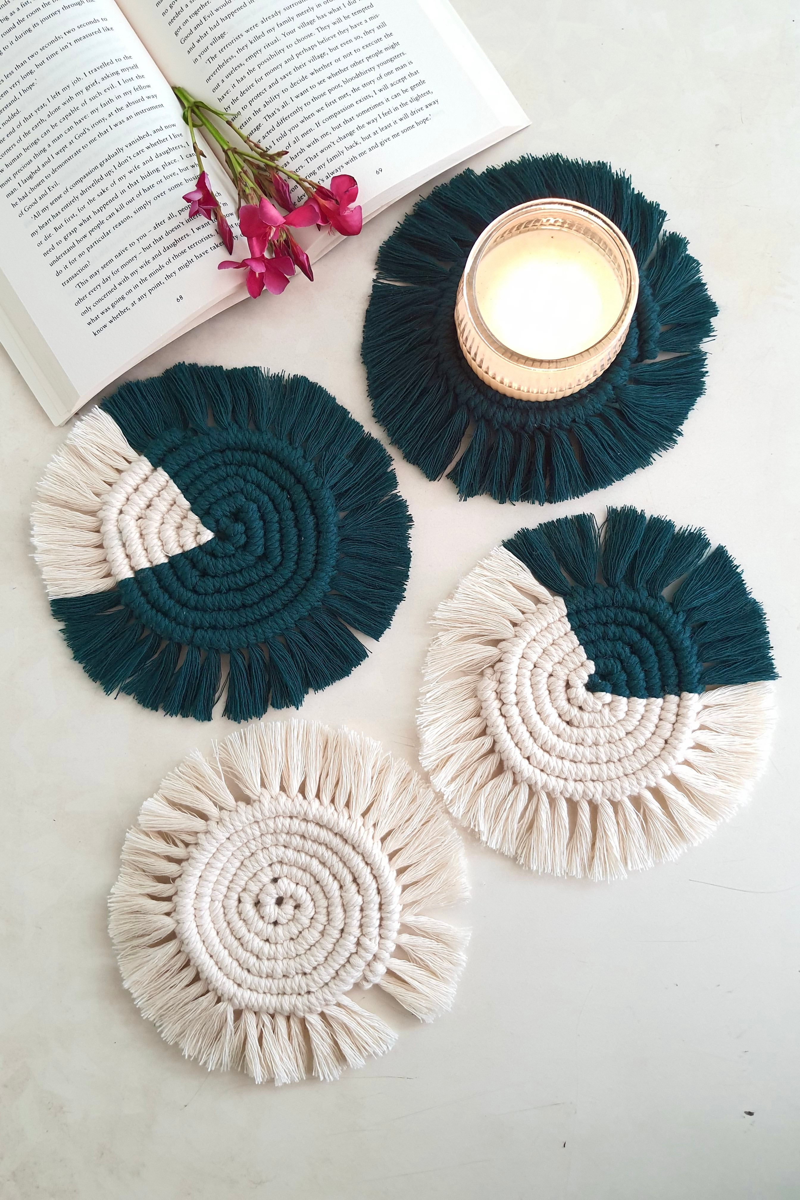Macrame Round Coasters - Off white & Forest green ( set of 4)