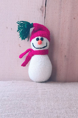 The Color Caravan 'Red Beanie Snowman ' Hand Crochet Acrylic Wool Toy