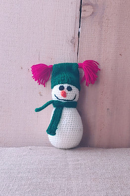 The Color Caravan Hand Crochet Acrylic Green Beanie Snowman Wool Toy Online