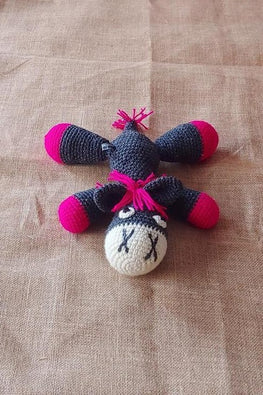 The Color Caravan Hand Crochet Acrylic Wool Magenta Bhondu Donkey Soft Toy Online