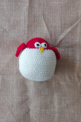 The Color Caravan Hand Crochet Acrylic Wool Red Laddu Owl Soft Toy Online