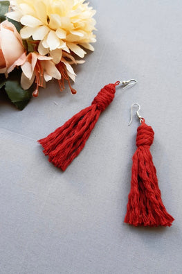 Handcrafted Macrame Tassel Earrings - Red
