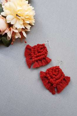 Handcrafted Macrame Knotted Earrings - Red