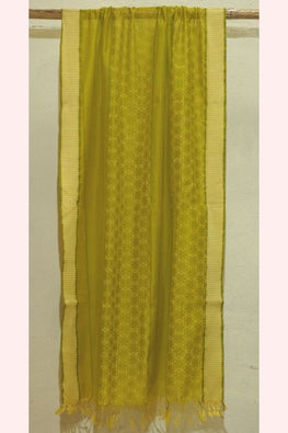 Olive Green Silk by Cotton Dupatta with Block Print