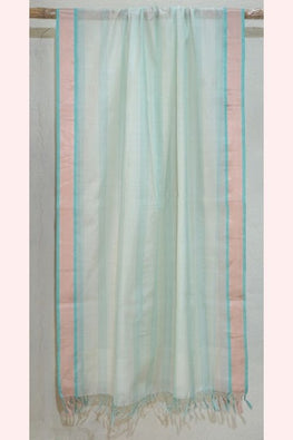 Teal and White Silk by Cotton Dupatta