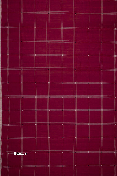 Hand-spun Pixel Buta Cotton Handloom Saree – Red Wine
