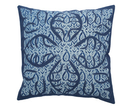 """Okhai Indigo Print Appliqued Cushion Cover"""