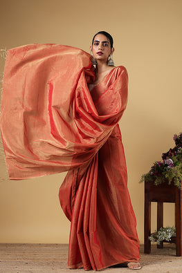 Handweave Maheshwari Handloom Full Tissue Saree Col- Red, Blouse Colour- Red