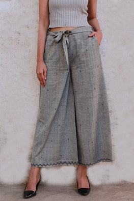 Okhai 'Happy Holidays' Suf Embroidered Cotton Palazzos