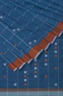 Square Checks Cotton and Handspun Handloom Saree  – Blue