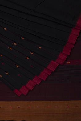 Leaf stripe Cotton and Handspun Handloom Saree – Black