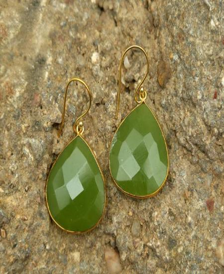Yellow Green - Natural Stone Earrings
