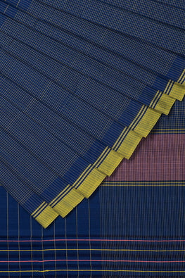 DV-40 Checks Cotton Handloom Saree – Blue