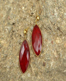 Red Meteors - Natural Stone Earrings